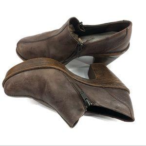 BORN Elliott Brown Leather Double Zip Plain Clogs